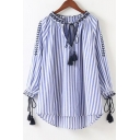 Striped Printed Round Neck Long Sleeve Tassel Embellished Pullover Blouse