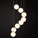 Frosted Glass Ball Pendant Light, 8 Lights