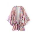 Women's Floral Printed Bell Half Sleeve Belt Waist Cardigan Kimonos Top
