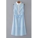 Lapel Collar Sleeveless Tie Waist Striped Printed Midi A-Line Dress