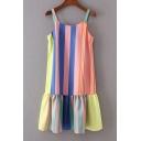 Colorful Striped Printed Straps Sleeveless Ruffle Hem Midi Slip Dress