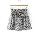 Summer Daisy Floral Printed Elastic High Waist Culottes Shorts