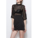 Chic Floral Embroidered High Neck Half Sleeve Sheer Mesh Patched Mini A-Line Dress