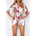 Hot Fashion Plunge Neck Half Sleeve Floral Printed Tie Waist Rompers