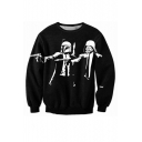 3D Men with Mask Pattern Round Neck Long Sleeve Casual Sweatshirt
