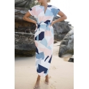 New Fashion Color Block Geometric Printed Short Sleeve Tie Waist Maxi Pencil Dress