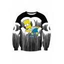 New Arrival 3D Cartoon Character Print Round Neck Long Sleeve Pullover Sweatshirt