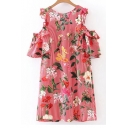 Summer's Floral Printed Round Neck Short Sleeve Cold Shoulder Mini Shift Dress