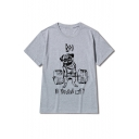 Adorable Funny Cartoon Lifting Dog Printed Short Sleeve Round Neck Graphic Tee