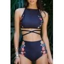 New Arrival Sexy Halter Neck Sleeveless Floral Printed Swimwear