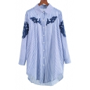 Chic Embroidered Striped Print Lapel Collar Long Sleeve Tunic Buttons Down Shirt