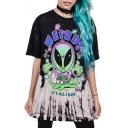 Summer's Fashion 3D Alien Printed Round Neck Short Sleeve Casual Tunic Tee