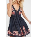 Women's Vintage Lace Up V-Neck Sleeveless Embroidery Floral Mini A-Line Dress