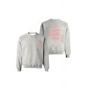 Basic Simple Letter Printed Round Neck Long Sleeve Pullover Sweatshirt