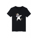 Funny Cartoon Unicorn Printed Round Neck Short Sleeve Pullover T-Shirt