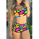 Women's Fashion Colorful Printed Cropped Tank Top High Waist Swimwear