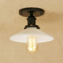 Retro 1 Light LED Semi Flush with White Shade in Industrial Style