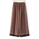 New Arrival Elastic Waist Tribal Printed Wide Legs Loose Pants