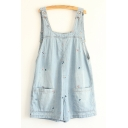 Cartoon Fish Embroidered Casual Leisure Denim Overalls with Double Pockets