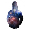 Digital Galaxy Printed Long Sleeve Fashion Zip Up Hoodie with Pockets