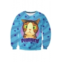 New Fashion 3D Cartoon Cat Printed Long Sleeve Round Neck Pullover Sweatshirt
