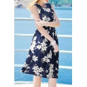 Chic Floral Printed Sleeveless Round Neck Midi A-Line Dress