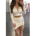 Lace-Up Front Plunge Neck Long Sleeve Cropped Top with Plain Bodycon Asymmetrical Skirt