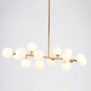 Lateral Chandelier Globe Modern White