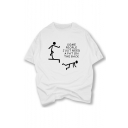 Funny Cartoon Letter Graphic Printed Short Sleeve Round Neck Tee