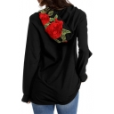 New Fashion Floral Embroidered Hooded Long Sleeve Casual Leisure Hoodie
