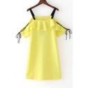 New Fashion Spaghetti Straps Cold Shoulder Short Sleeve Mini Slip Dress