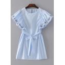 Round Neck Short Sleeve Striped Printed Tie Waist Mini A-Line Dress