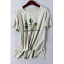Cactus Printed Round Neck Short Sleeve High Low Hem Pullover Cotton Tee