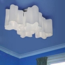 Floral Frosted Blown White Glass Semi-Flush Mount Light, 4 Lights