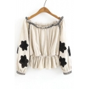 New Arrival Ruffle Hem Long Sleeve Off the Shoulder Embroidery Floral Pattern Blouse