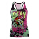 New Stylish 3D Letter Cartoon Pattern Scoop Neck Sleeveless Tank Tee