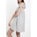 New Arrival Plain Scoop Neck Cold Shoulder Mini A-Line Dress
