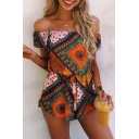 New Arrival Off The Shoulder Short Sleeve Tribal Printed Rompers