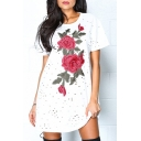 Fashion Hollow Out Chic Floral Embroidered Round Neck Short Sleeve Mini T-Shirt Dress