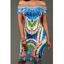 Sexy Off The Shoulder Short Sleeve Tribal Printed Midi Bodycon Dress