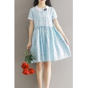 Collared Short Sleeve Fresh Floral Printed Loose Leisure Midi A-Line Dress
