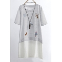 New Arrival Embroidery Pattern Polka Dots Short Sleeve Round Neck Patchwork Mini T-Shirt Dress