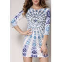 Hot Fashion Round Neck 3/4 Sleeve Tribal Printed Mini Bodycon Dress