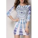 Hot Fashion Round Neck 3/4 Sleeve Tribal Printed Mini Bodycon Dress