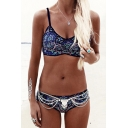 Hot Fashion New Collection Spaghetti Straps Chic Floral Printed Swimwear