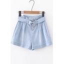 Vintage High Waist Plain Wide Legs Loose Leisure Denim Shorts