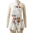 Halter Neck Sleeveless Retro Floral Pattern Casual Loose Rompers