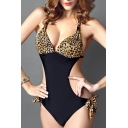 Sexy Women's Halter Leopard/Striped/Polka Dots Pattern Cutout Waist One Pieces Swimwear