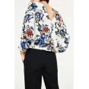 Chic V Back Round Neck 3/4 Sleeve Floral Printed Pullover Loose Blouse