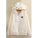 Lovely Rabbit Ear Hooded Zipper Placket Embroidery Heart Pattern Coat